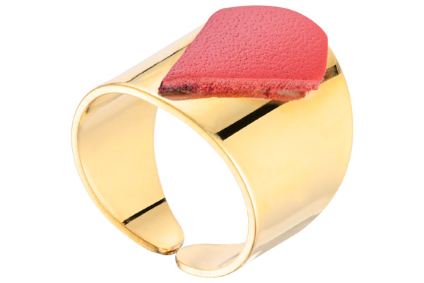 Bague Clélia, plaquage or 18K, cuir, coquelicot, réglable Charly James