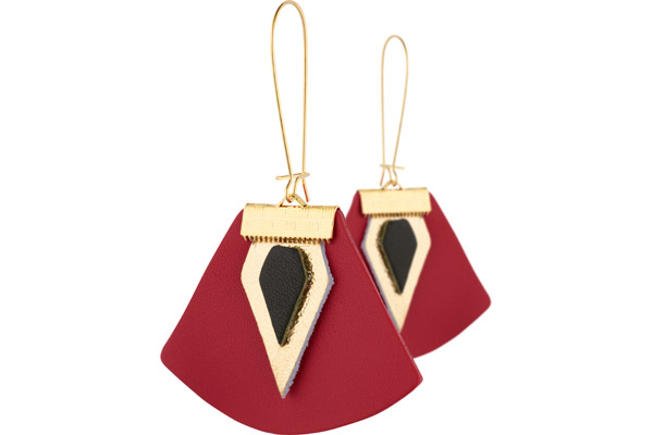 Boucles d'oreilles dormeuses Nadja, plaquage or 18K, cuir, coquelicot-gold Charly James