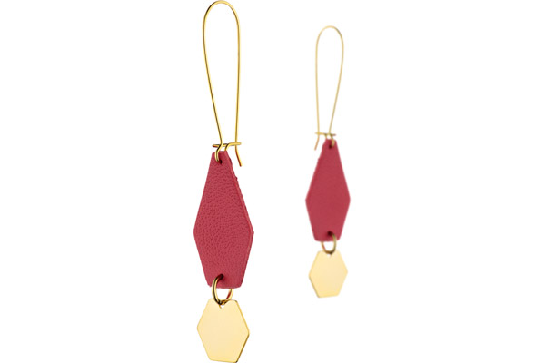 Boucles d'oreilles dormeuses Anna, plaquage or 18K, cuir, coquelicot Charly James