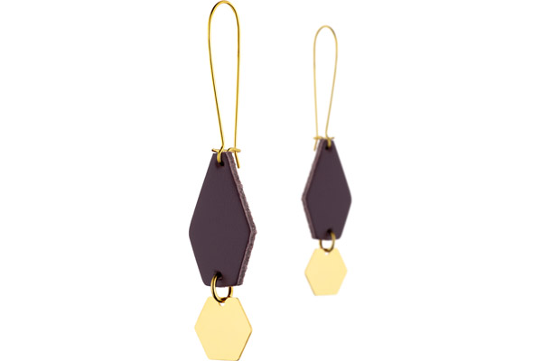 Boucles d'oreilles dormeuses Anna, plaquage or 18K, cuir, prune Charly James