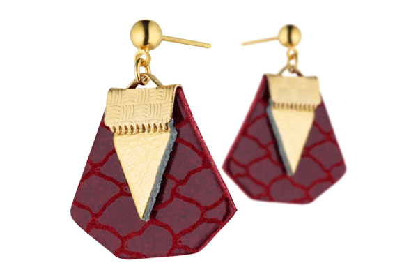 Boucles d'oreilles percées Daisy, plaquage or 18K, cuir, rouge ecailles-gold Charly James