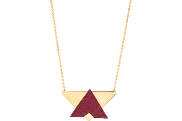 Collier Dorian, plaquage or 18K, cuir, rouge ecailles Charly James