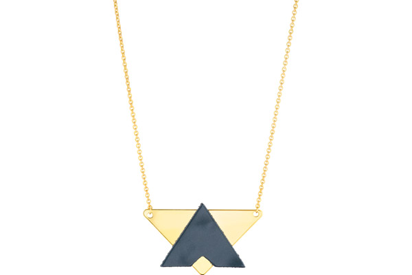 Collier Dorian, plaquage or 18K, cuir, bleu abysse Charly James