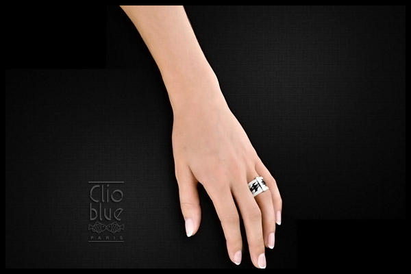 Bague Black night en argent 925, céramique, 14.5g, T52 Clio Blue, packaging