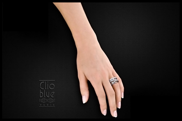 Bague entrelacs New Rings en argent 925 rhodié, brillant, 10.8g, T52 Clio Blue, packaging