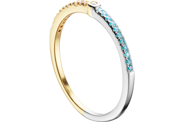 Bague Marylin en argent 925, dorure or 18K, 1g, T54 Clio Blue