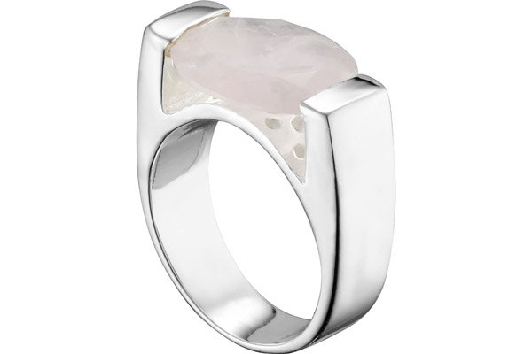 Bague Germaine en argent 925, Quartz, 9g, T54 Clio Blue