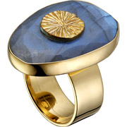Bijoux Clio Blue - Bague Intemporels, dorure or jaune, Labradorite, T54