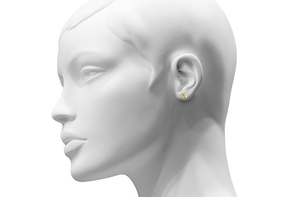 Boucles d'oreilles puces Vintage en or jaune 24 carats, Diamant 0.02ct, 2.03g Clio Blue, plan large