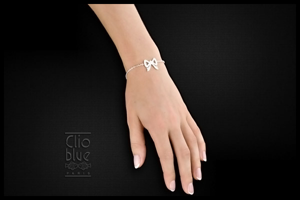 Bracelet noeud argent et brillants Clio Blue, plan large