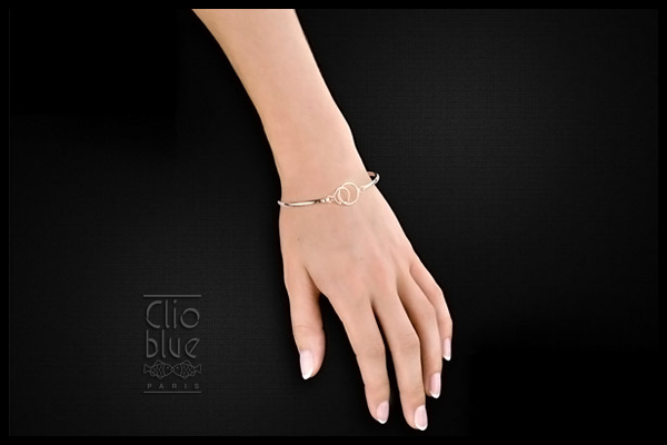 Bracelet jonc Attache-moi en argent 925, 6.6g, Ø60mm Clio Blue, packaging