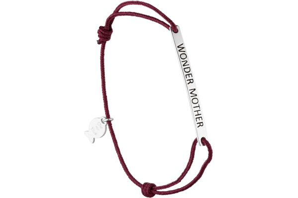Bracelet cordon rouge Wonder Mother en argent 925, 1.5g Clio Blue
