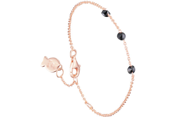 Bracelet chaîne Marilyn en argent 925, dorure or rose, brillants noir, 1.4g Clio Blue