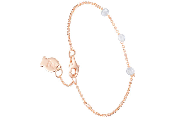 Bracelet chaîne Marilyn en argent 925, dorure or rose, brillants, 1.4g Clio Blue