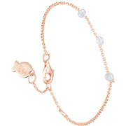 Bijoux Clio Blue - Bracelet chaîne Marilyn en argent 925, dorure or rose, brillants, 1.4g