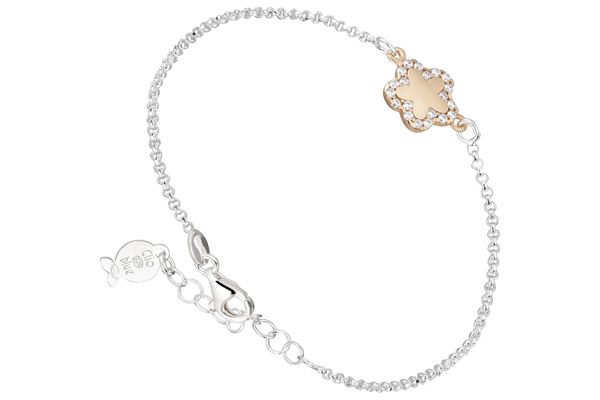 Bracelet chaîne Archiduchesse, dorure or rose, brillants Clio Blue