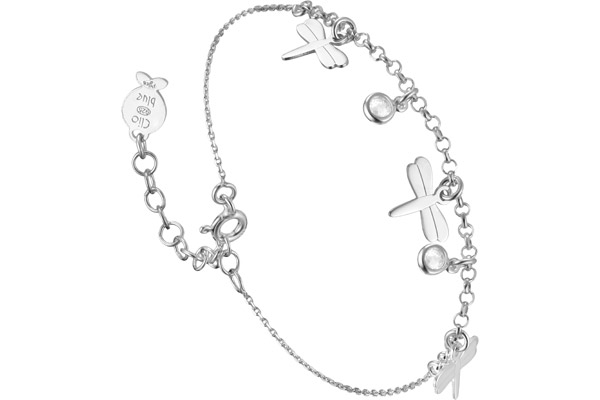 Bracelet chaîne pendants Intemporels en argent 925, brillants, 2g Clio Blue