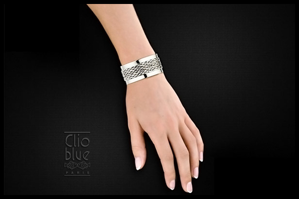 Bracelet manchette en argent 925, 57.6g, Ø60mm Clio Blue, packaging