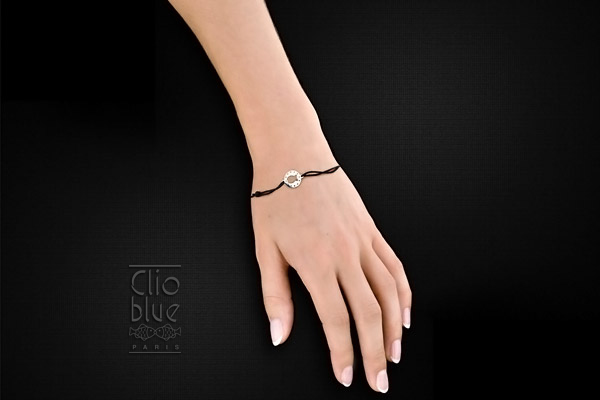 Bracelet cordon poisson en argent 925, noir, 1.3g Clio Blue, packaging