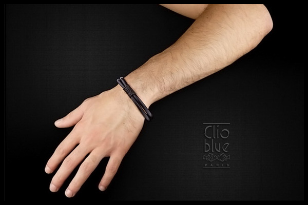 Bracelet duo en cuir et acier, marron Clio Blue, packaging