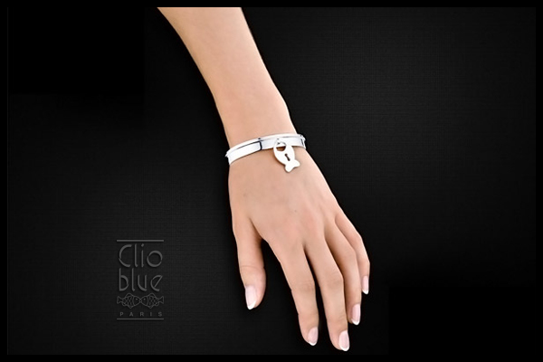 Bracelet manchette Journal intime en argent 925, 23.3g, Ø55mm Clio Blue, plan large