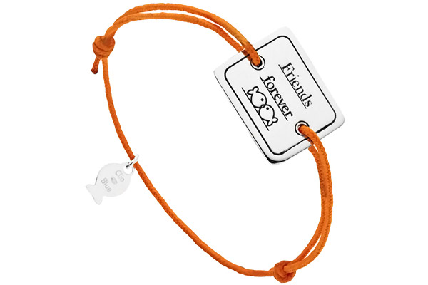 Bracelet cordon et argent 925, Friends forever, orange, 4.5g Clio Blue