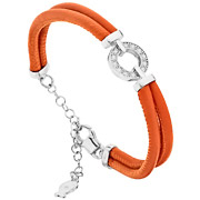 Bijoux Clio Blue - Bracelet New Bangles en cuir et argent 925, brillants, orange, 6.8g