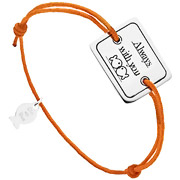 Bijoux Clio Blue - Bracelet cordon et argent 925, Always with you, orange, 4.5g