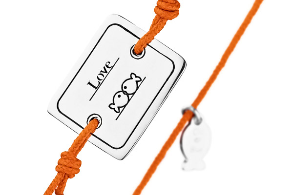 Bracelet cordon et argent 925, Love, orange, 4.5g Clio Blue, gros plan