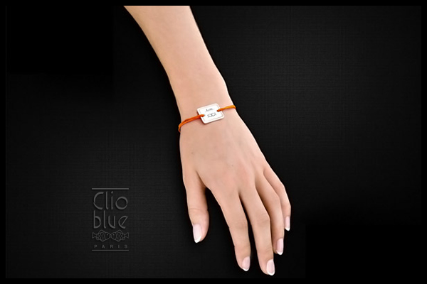 Bracelet cordon et argent 925, Love, orange, 4.5g Clio Blue, packaging