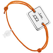 Bijoux Clio Blue - Bracelet cordon et argent 925, Love, orange, 4.5g