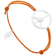 Bijoux Clio Blue - Bracelet cordon Peace & Fish en argent 925, orange, 2.1g