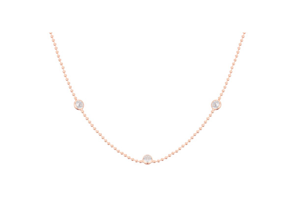 Collier ras de cou Marilyn en argent 925, dorure or rose, brillants, 3g Clio Blue