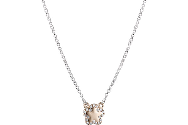 Collier ras de cou Archiduchesse en argent 925, dorure or rose, brillants, 3.6g Clio Blue
