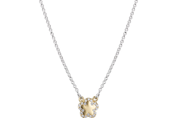Collier ras de cou Archiduchesse argent 925, dorure or jaune, brillants, 3.7g Clio Blue
