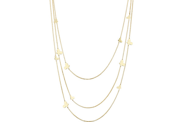Collier 3 rangs Maya en argent 925, dorure or 18K, 15g Clio Blue
