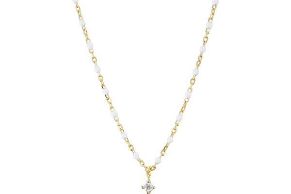 Collier Mimi en argent 925, dorure or 18K, Émail, brillants, blanc, 4g Clio Blue