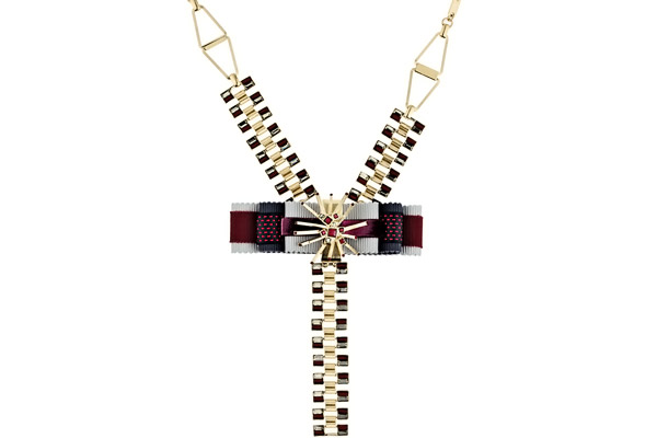 Collier cravate nœud Lilly bordeaux Delphine-Charlotte Parmentier