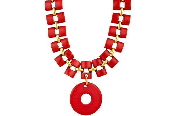 Collier ras de cou Broadway en résine, corail Dominique Denaive