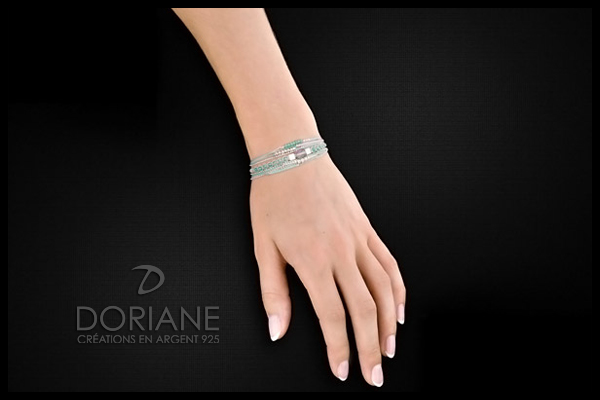 Bracelet rectangle et macramé Multi-Tours en argent 925, Turquoise, 5.6g Doriane, packaging