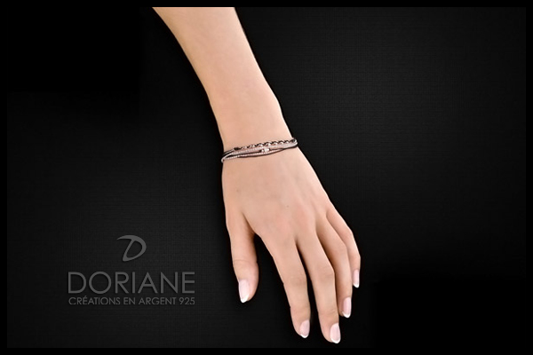Bracelet Multi-Tours en argent 925, Noir, 3.1g Doriane, packaging