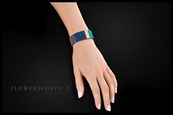 Bracelet Gabriel en cuir, plaquage or 18K, denim FlowersforZoé, packaging