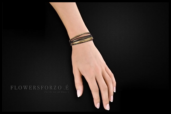 Bracelet Multiliens en cuir, plaquage or 18K, black star doré FlowersforZoé, packaging
