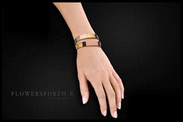 Bracelet 2 tours Gabriel en cuir, plaquage or rose, black star poudre FlowersforZoé, packaging