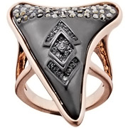 Bijoux House of Harlow 1960 - Bague Tribal Tooth, dorure or rose, brillant, T56