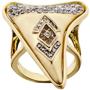 Bijoux House of Harlow 1960 - Bague Tribal Tooth, dorure or 14 carats, brillant, Topaze, T54