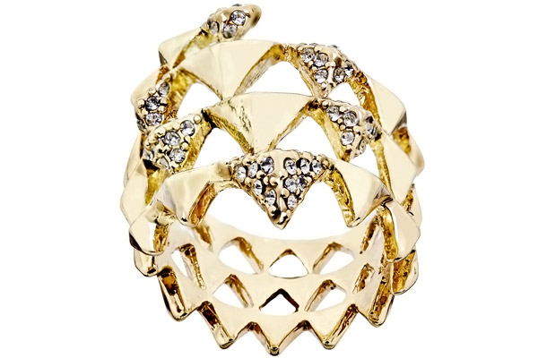Bague Pyramid Wrap, dorure or 14 carats, brillant, T52 House of Harlow 1960