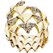 Bijoux House of Harlow 1960 - Bague Pyramid Wrap, dorure or 14 carats, brillant, T56