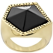 Bijoux House of Harlow 1960 - Bague Jewels of Java, dorure or 14 carats, résine, T56