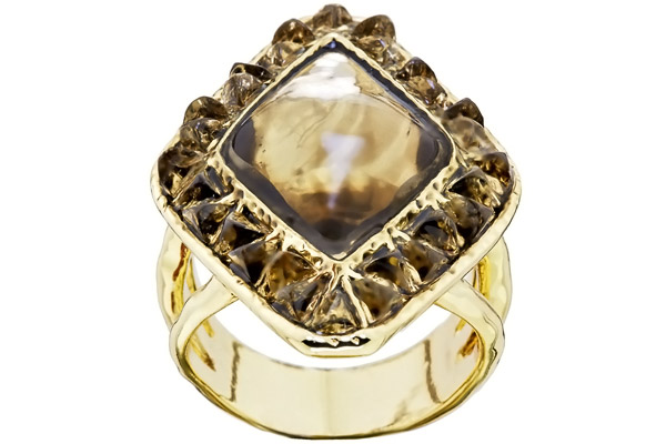 Bague Sea Stones, dorure or 14 carats, résine, T56 House of Harlow 1960